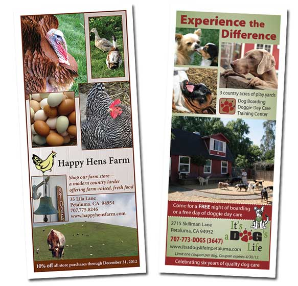 Happy Hens Farm and It's a Dog's Life Rack Card Coupons