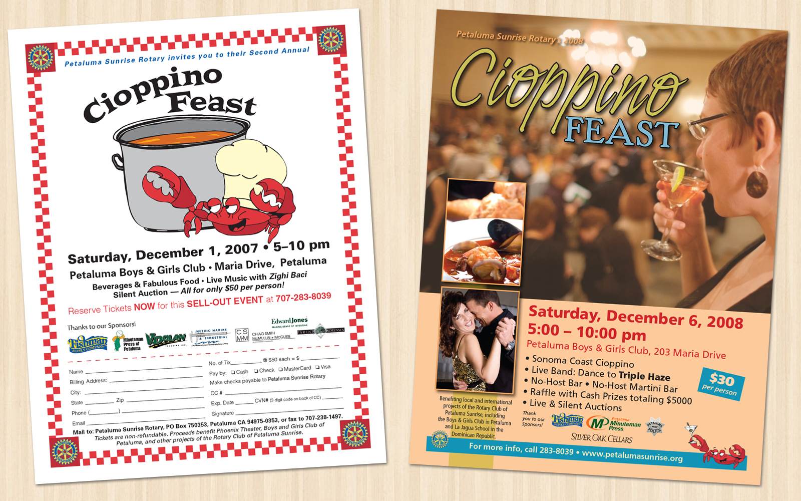 Petaluma Sunrise Rotary Cioppino Feast Flyers