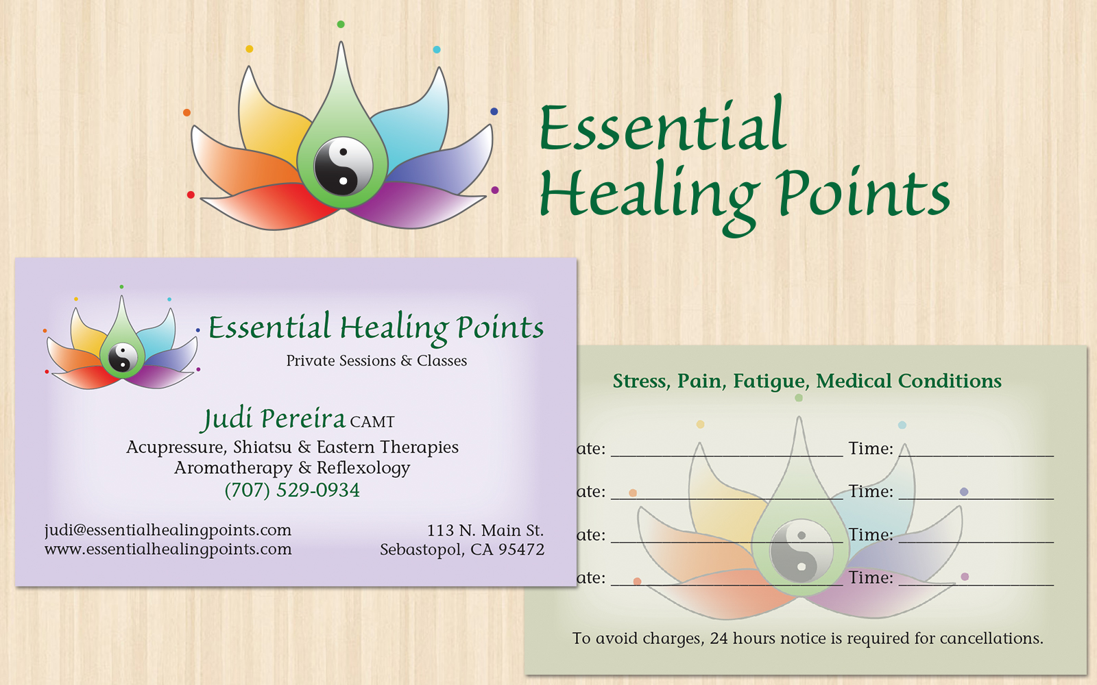 Essential Healing Points Logo And Business Card