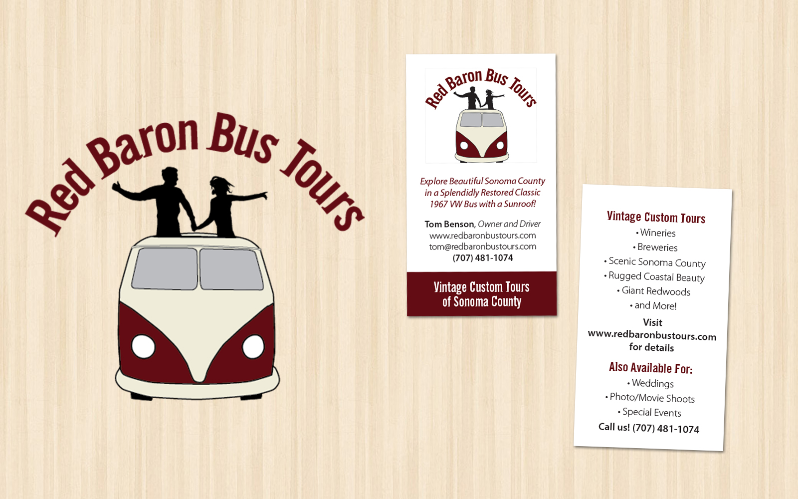 Red Baron Bus Tours Logo And Business Card